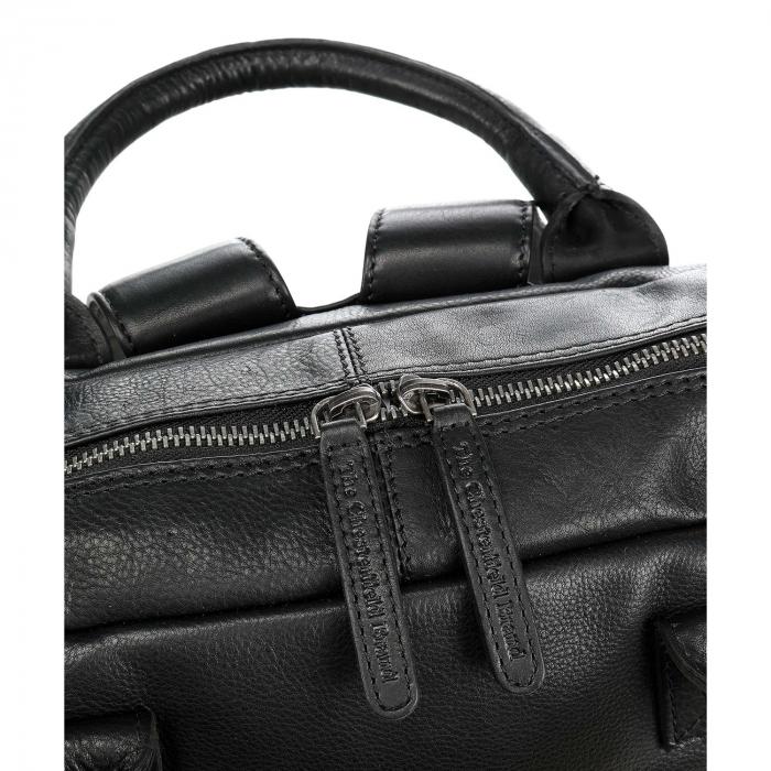 Rucsac pentru laptop de 14 inch, The Chesterfield Brand, din piele, model Yonas, Negru [3]
