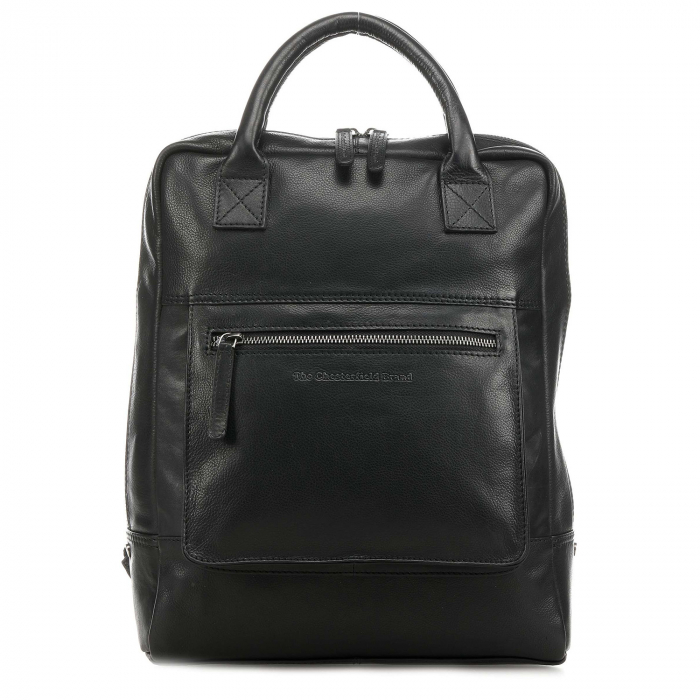 Rucsac pentru laptop de 14 inch, The Chesterfield Brand, din piele, model Yonas, Negru [1]