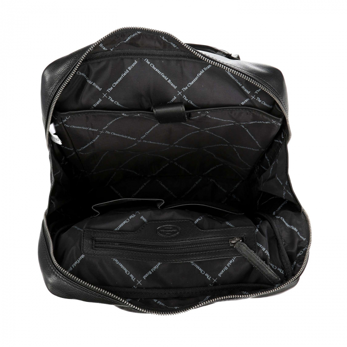 Rucsac pentru laptop de 14 inch, The Chesterfield Brand, din piele, model Yonas, Negru [2]
