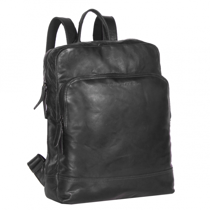 Rucsac pentru laptop de 15,4 inch si tableta, The Chesterfield Brand, din piele, model Mack, Negru [0]