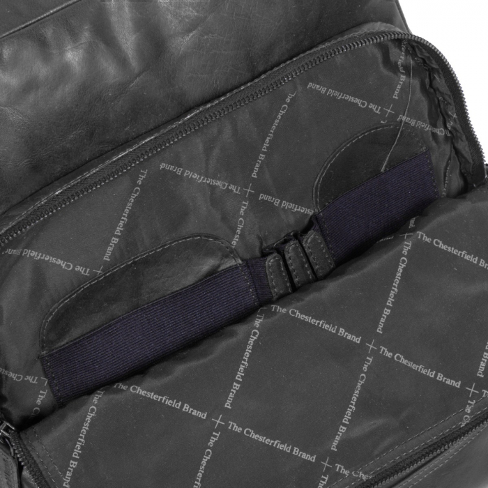 Rucsac pentru laptop de 15,4 inch si tableta, The Chesterfield Brand, din piele, model Mack, Negru [5]