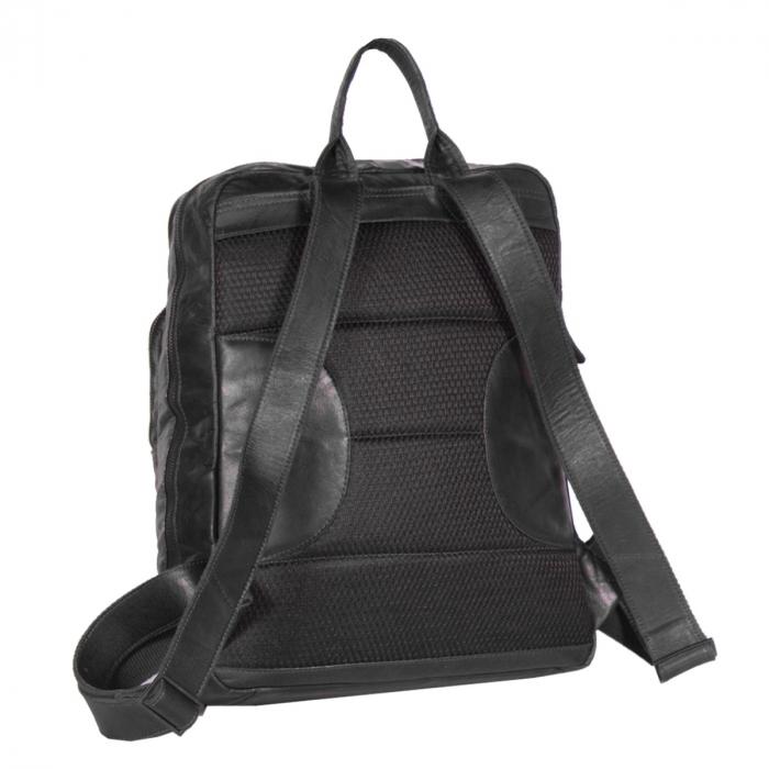 Rucsac pentru laptop de 15,4 inch si tableta, The Chesterfield Brand, din piele, model Mack, Negru [3]