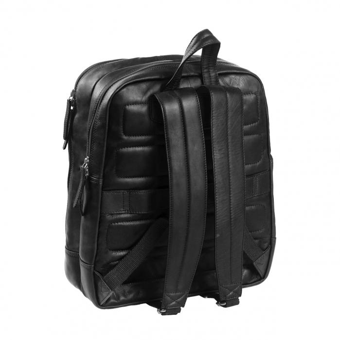 Rucsac pentru laptop de 15.4 inch, The Chesterfield Brand, din piele, model Dex, Negru [4]