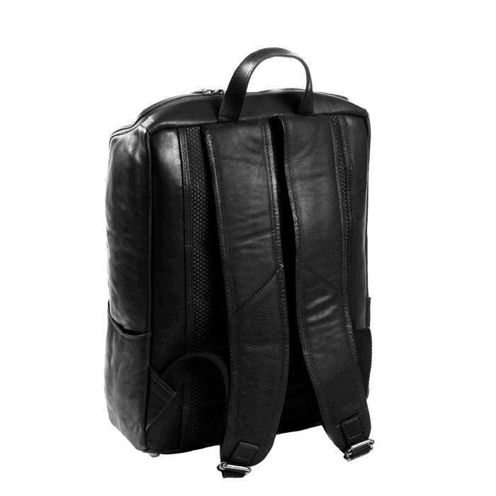 Rucsac pentru laptop de 15,4 inch, The Chesterfield Brand, din piele neagra model Rich 1