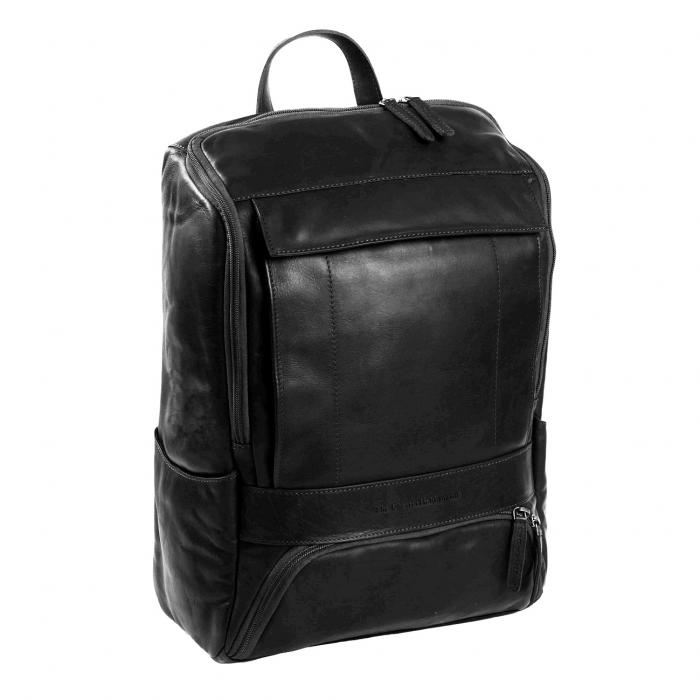 Rucsac pentru laptop de 15,4 inch, The Chesterfield Brand, din piele neagra model Rich 0