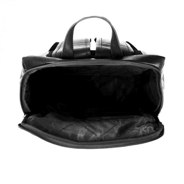 Rucsac pentru laptop de 15,4 inch, The Chesterfield Brand, din piele neagra model Rich 4