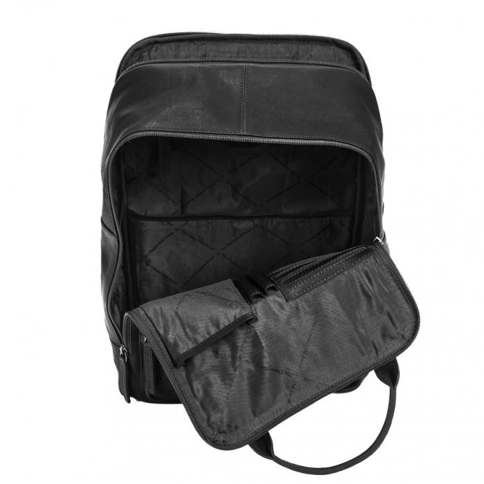 Rucsac pentru tableta si laptop de 14 inch, The Chesterfield Brand, din piele naturala, model Belford, Negru [2]