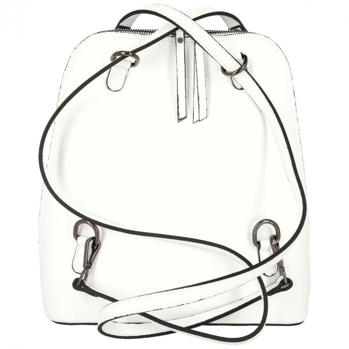 Rucsac si geanta 2 in 1 din piele naturala alba model 4115 [3]