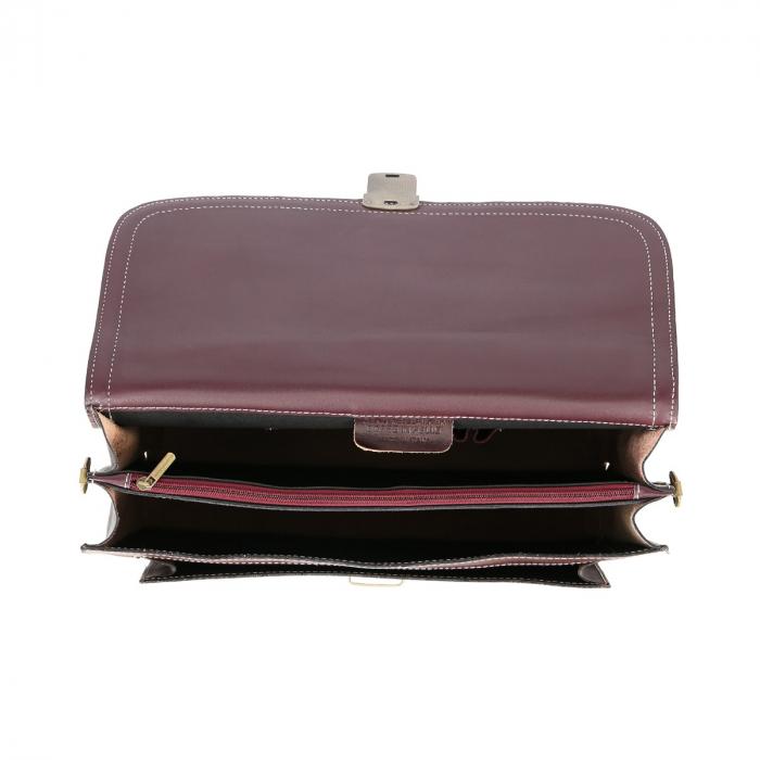 Servieta din piele naturala burgundy model S018 [4]