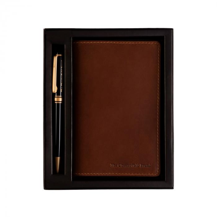 Set cadou pentru barbati cu pix si agenda, The Chesterfield Brand maro coniac [0]