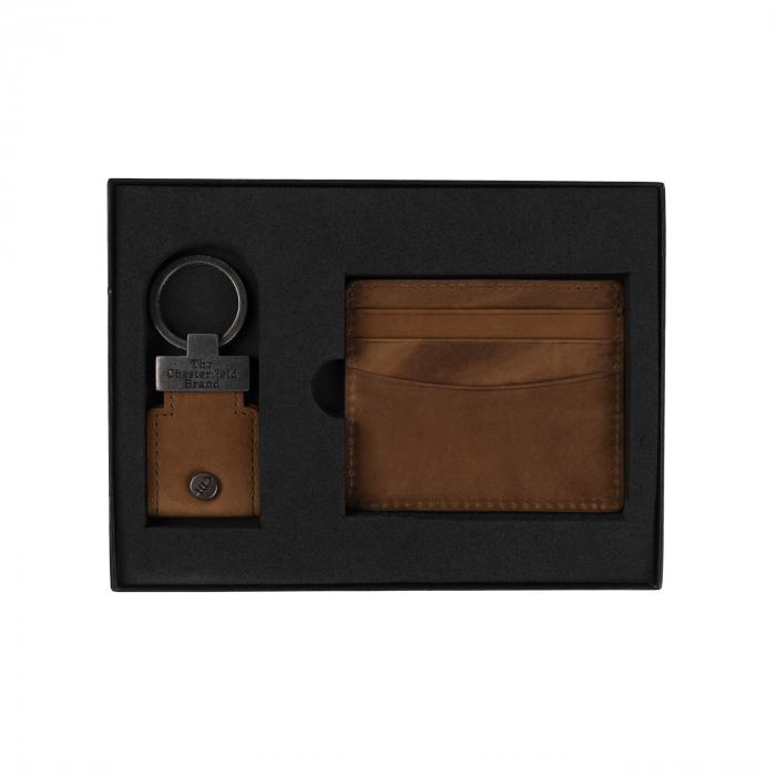 Set cadou pentru barbati cu port card si breloc pentru chei, The Chesterfield Brand maro coniac [0]