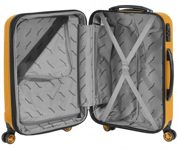 Troler mediu Packenger Velvet galben mustar 62 cm [3]