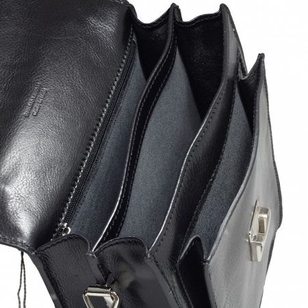 Borseta din piele vachetta neagra model pe inalt S4408 [3]