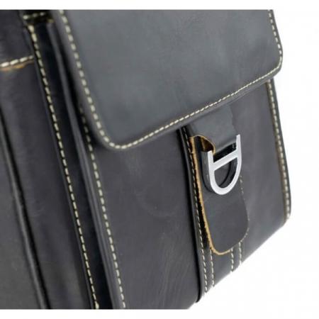 Borseta geanta de barbati, de mana si umar din piele naturala neagra, 069 [2]