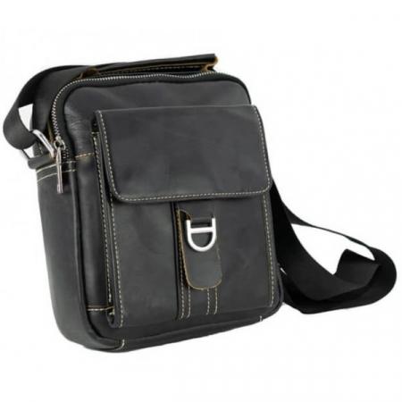 Borseta geanta de barbati, de mana si umar din piele naturala neagra, 069 [1]