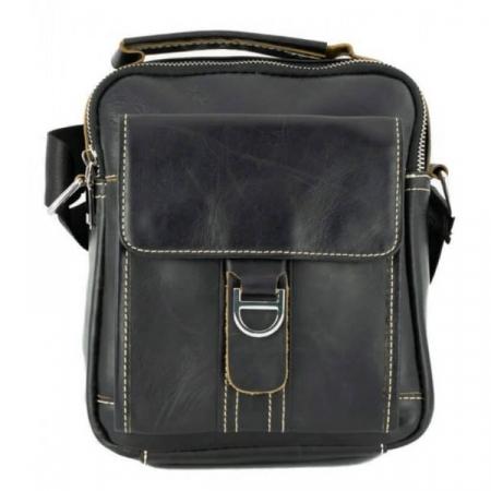 Borseta geanta de barbati, de mana si umar din piele naturala neagra, 069 [0]