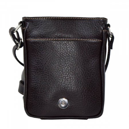 Borseta geanta din piele moale casual, de barbati, maro cu capac 044 [2]