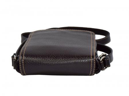 Borseta geanta din piele moale casual, de barbati, maro cu capac 044 [4]
