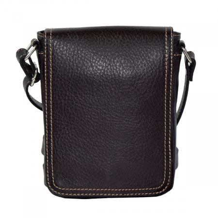 Borseta geanta din piele moale casual, de barbati, maro cu capac 044 [1]