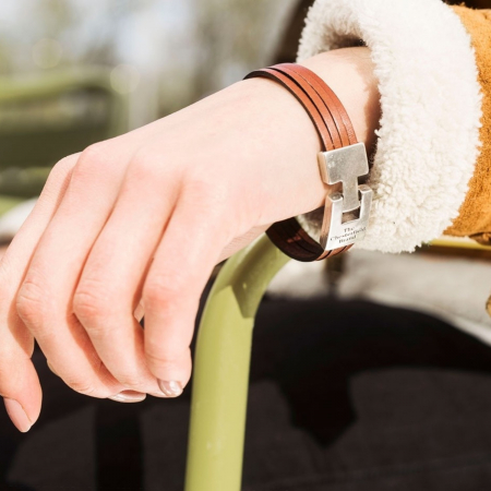 Bratara barbati, The Chesterfield Brand, din piele naturala maro coniac, Katniss, 20.5 cm [1]