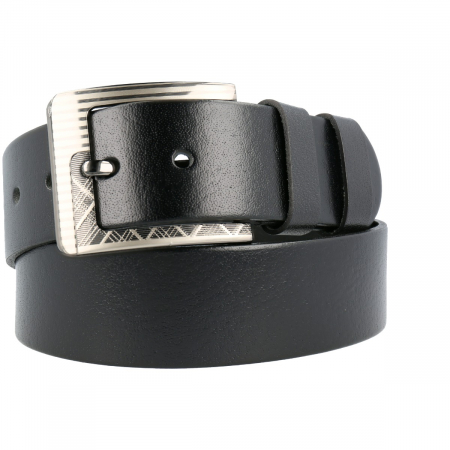 Curea lata pentru blugi si pantaloni casual din piele neagra, marca Eminsa [0]