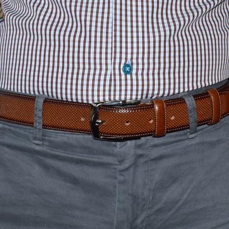 Curea maro brun, din piele naturala pentru barbati, cu perforatii, 11302 [1]