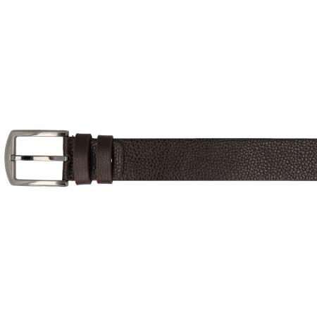 Curea maro inchis pentru blugi si pantaloni casual, din piele moale, marca Eminsa [2]