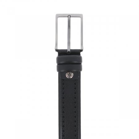 Curea neagra cu perforatii decorative din piele, pentru pantaloni casual, model 1087 [2]