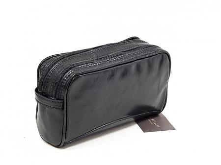 Geanta cosmetice din piele vacheta neagra, pentru barbati S4401 [2]