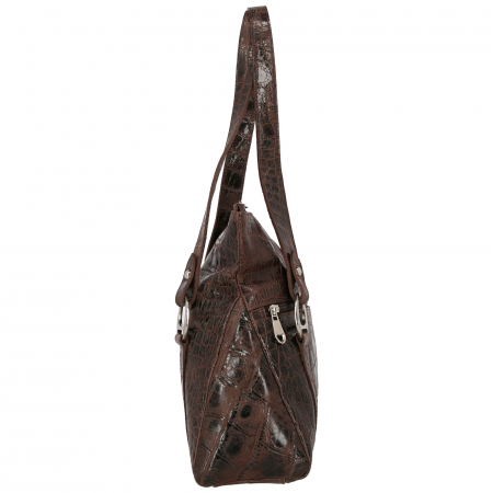 Geanta de dama, din piele naturala tip croco, maro inchis, model 1473 [3]