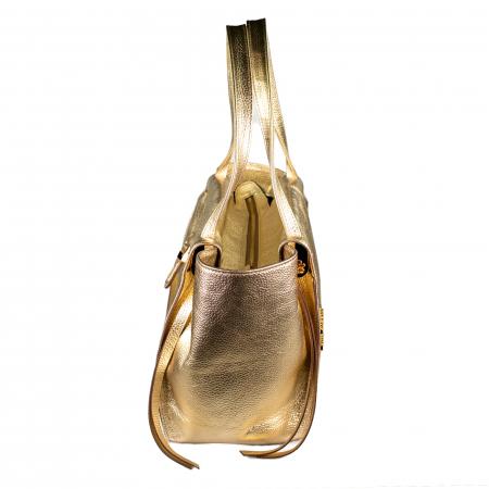 Geanta de dama din piele naturala, Tony Bellucci, de mana si umar model 301, Auriu [3]