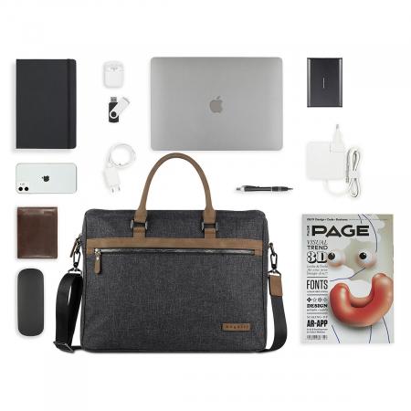Geanta de laptop 15 inch Bugatti Luce, pentru barbati, gri antracit [2]