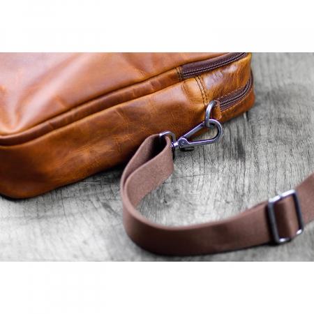 Geanta de laptop din piele naturala, Klondike, 13 inch, Maro coniac [4]