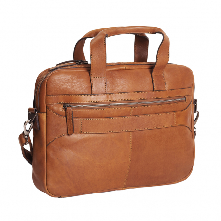 Geanta de laptop din piele naturala, The Chesterfield Brand, Dean 15.4 inch, Maro coniac [4]