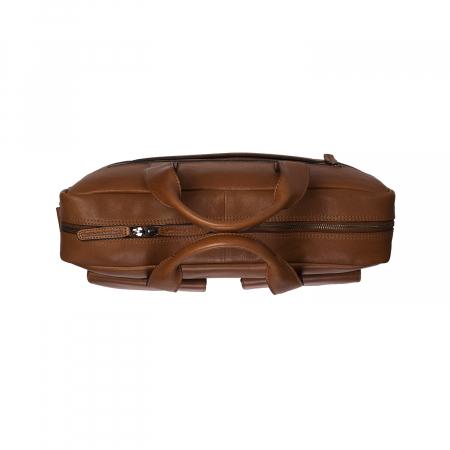 Geanta de laptop din piele naturala, The Chesterfield Brand, Ethan 15.6 inch, Maro coniac [3]