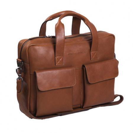 Geanta de laptop din piele naturala, The Chesterfield Brand, Ethan 15.6 inch, Maro coniac [0]