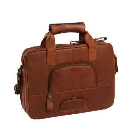 Geanta de laptop din piele naturala, The Chesterfield Brand, Geneva 15.6 inch, Maro coniac [7]