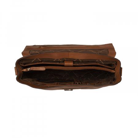 Geanta de laptop din piele naturala, The Chesterfield Brand, Iowa 15.6 inch, Maro coniac [2]