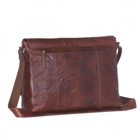 Geanta de laptop din piele naturala, The Chesterfield Brand, Maha 15.4 inch, Maro coniac [4]
