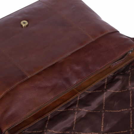 Geanta de laptop din piele naturala, The Chesterfield Brand, Maha 15.4 inch, Maro coniac [2]