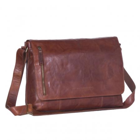 Geanta de laptop din piele naturala, The Chesterfield Brand, Maha 15.4 inch, Maro coniac [0]