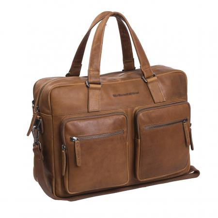 Geanta de laptop din piele naturala, The Chesterfield Brand, Misha 17 inch, Maro coniac [0]