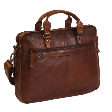 Geanta de laptop din piele naturala, The Chesterfield Brand, Rene 15.4 inch, Maro coniac [5]