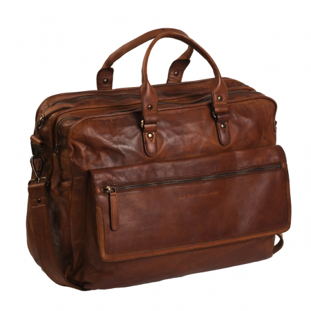 Geanta de laptop din piele naturala maro coniac, The Chesterfield Brand, Rowan 17 inch0