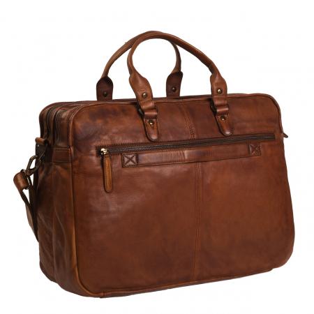 Geanta de laptop din piele naturala maro coniac, The Chesterfield Brand, Rowan 17 inch3