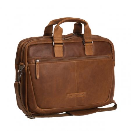 Geanta de laptop din piele naturala, The Chesterfield Brand, Seth 15 inch, Maro coniac [0]