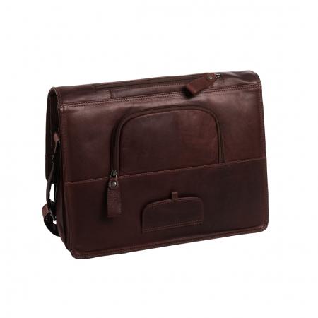 Geanta de laptop din piele naturala, The Chesterfield Brand, Gent 15.6 inch, Maro inchis [6]