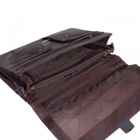Geanta de laptop din piele naturala, The Chesterfield Brand, Joe 13 inch, Maro inchis [2]