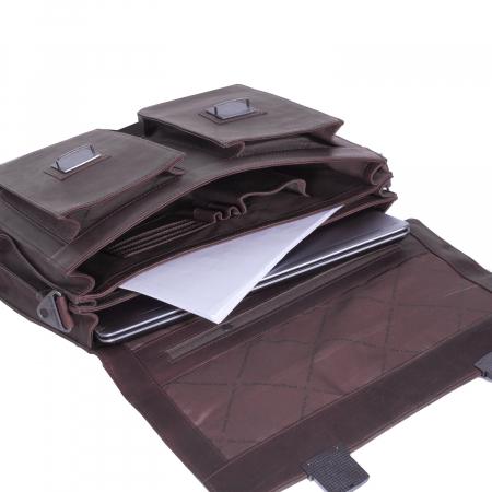 Geanta de laptop din piele naturala maro inchis, The Chesterfield Brand, Mario 15 inch [3]