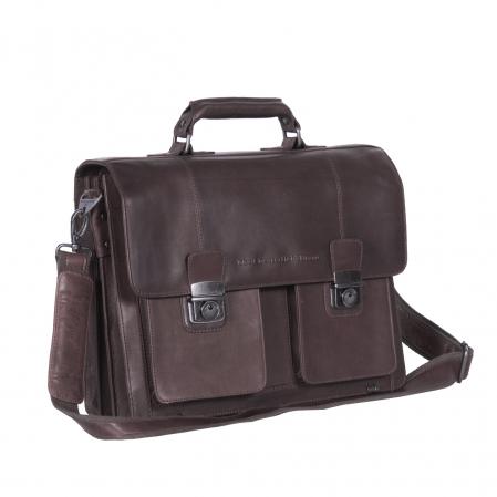 Geanta de laptop din piele naturala maro inchis, The Chesterfield Brand, Mario 15 inch [0]